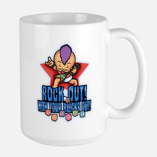 Rock Out Blocks Out Large Mug