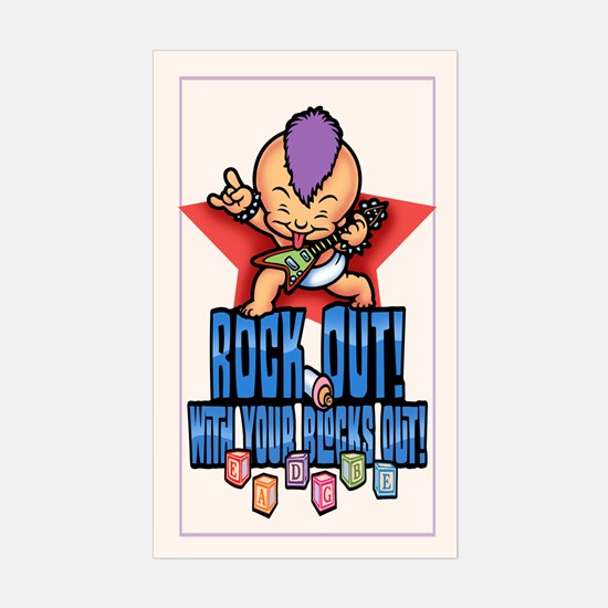 Rock Out Blocks Out Sticker (Rectangle)