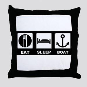 Eat Sleep Boat Throw Pillow