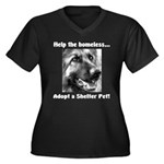 Help The Homeless Women's Plus Size V-Neck Dark T-