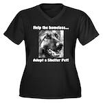 Help The Homeless Women's Plus Size V-Neck Dark T-