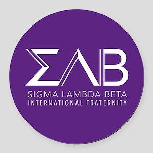 Sigma Lambda Beta Letters Round Car Magnet
