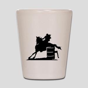 Barrel racing silhouette Shot Glass