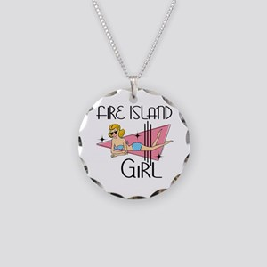 Fire Island Girl Necklace Circle Charm