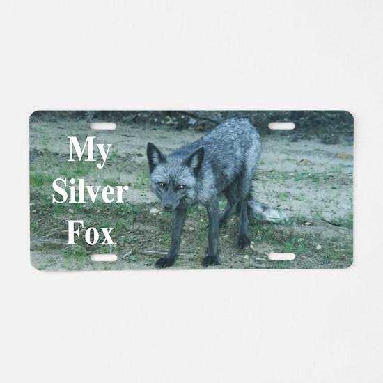 Silver Fox over 50 Aluminum License Plate