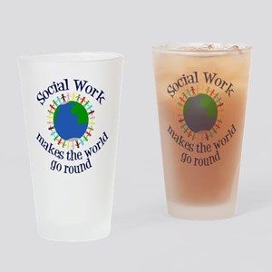 Social Work World Drinking Glass