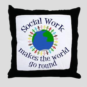 Social Work World Throw Pillow