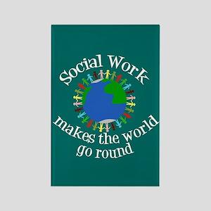 Social Work World Rectangle Magnet
