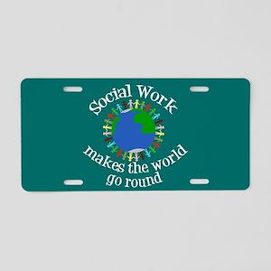 Social Work World Aluminum License Plate