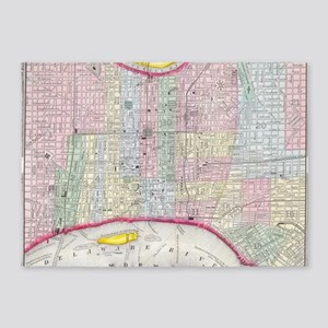 Vintage Map of Philadelphia Pennsyl 5'x7'Area Rug