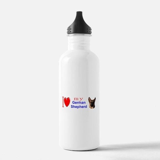 Funny German shepherd dog men Water Bottle