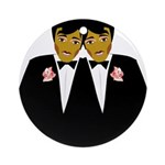 Two Grooms Ethnic Ornament (Round)