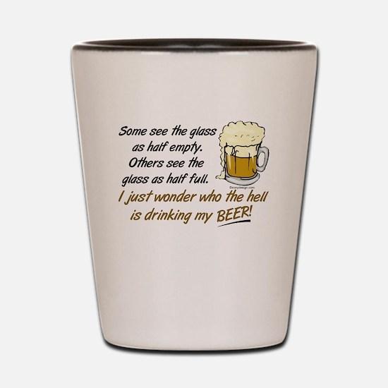 Half Empty Beer Shot Glass
