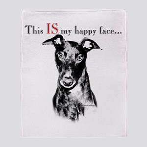 Greyhound Happy Face Throw Blanket