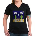 Alien Travel Advisory Women's V-Neck Dark T-Shirt