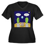 Alien Travel Women's Plus Size V-Neck Dark T-Shirt