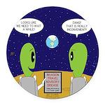 Alien Travel Advisory Round Car Magnet