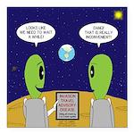 Alien Travel Advisory Square Car Magnet 3
