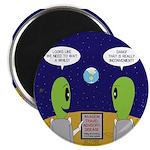 Alien Travel Advisory Round Magnet