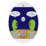 Alien Travel Advisory Oval Ornament