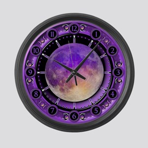 Clock of the Purple Moon Large Wall Clock