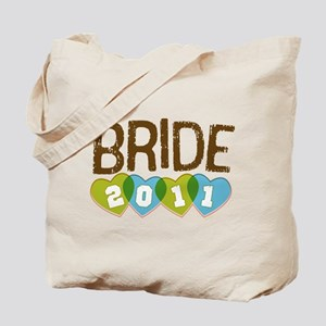 Green Blue Hearts Bride 2011 Tote Bag