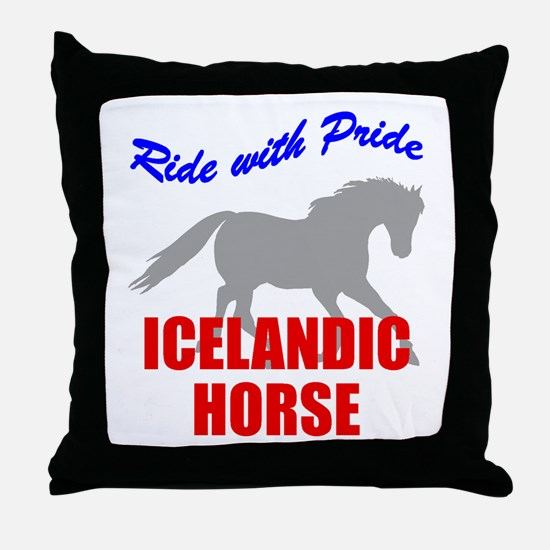 Ride With Pride Icelandic Horse Throw Pillow