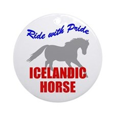Ride With Pride Icelandic Horse Ornament (Round)