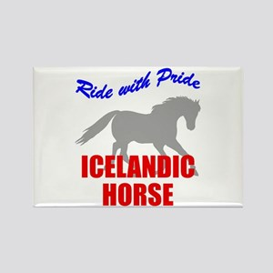 Ride With Pride Icelandic Horse Rectangle Magnet