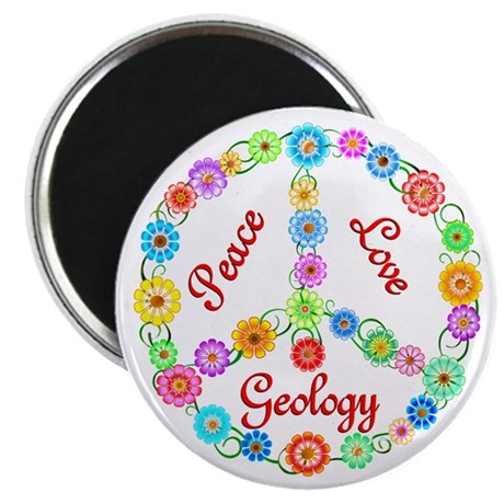"""Peace Love Geology 2.25"""" Magnet (10 pack)"""