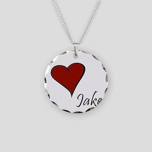 I love Jake Necklace Circle Charm