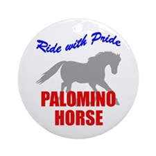 Ride With Pride Palomino Horse Ornament (Round)