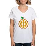 Orange Women's V-Neck T-Shirt