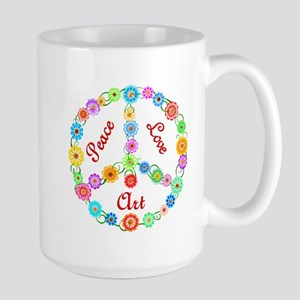 Peace Love Art Large Mug
