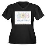 CDH Superhero Women's Plus Size V-Neck Dark T-Shir