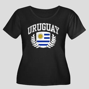 Uruguay Women's Plus Size Scoop Neck Dark T-Shirt