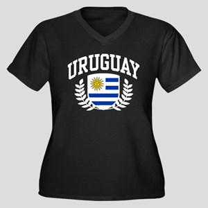 Uruguay Women's Plus Size V-Neck Dark T-Shirt