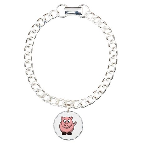 Cartoon Pig Charm Bracelet, One Charm