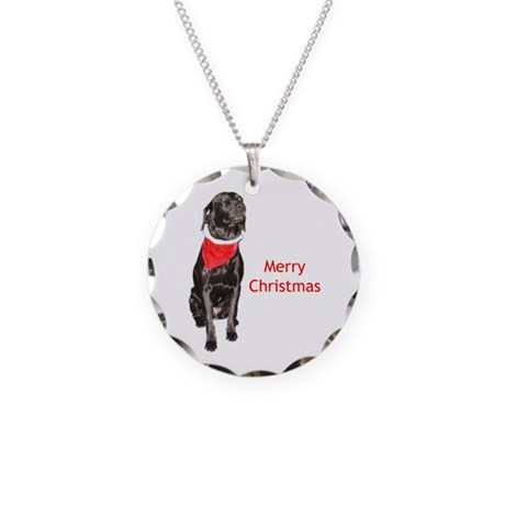 merry Christmas Necklace Circle Charm