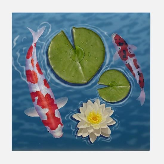 Cute Koi fish Tile Coaster
