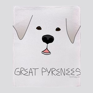Great Pyrenees Face Throw Blanket
