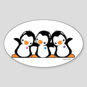 Penguins (together) Sticker (Oval)