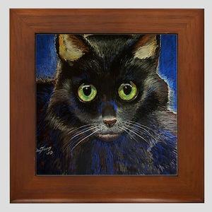 black kitty Framed Tile