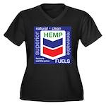 Hemp Fuels Women's Plus Size V-Neck Dark T-Shirt