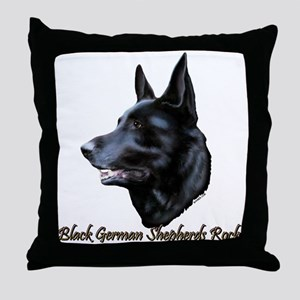 Black German Shepherds Rock Throw Pillow