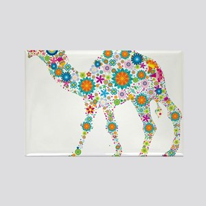 Colorful Retro Floral Camel Magnets