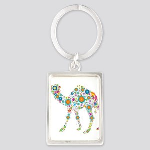 Cool Colorful Retro Floral Camel Keychains