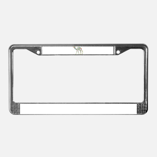 Cool Colorful Retro Floral Cam License Plate Frame