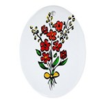 Red Rose Ornament (Oval)