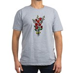 Red Rose Men's Fitted T-Shirt (dark)